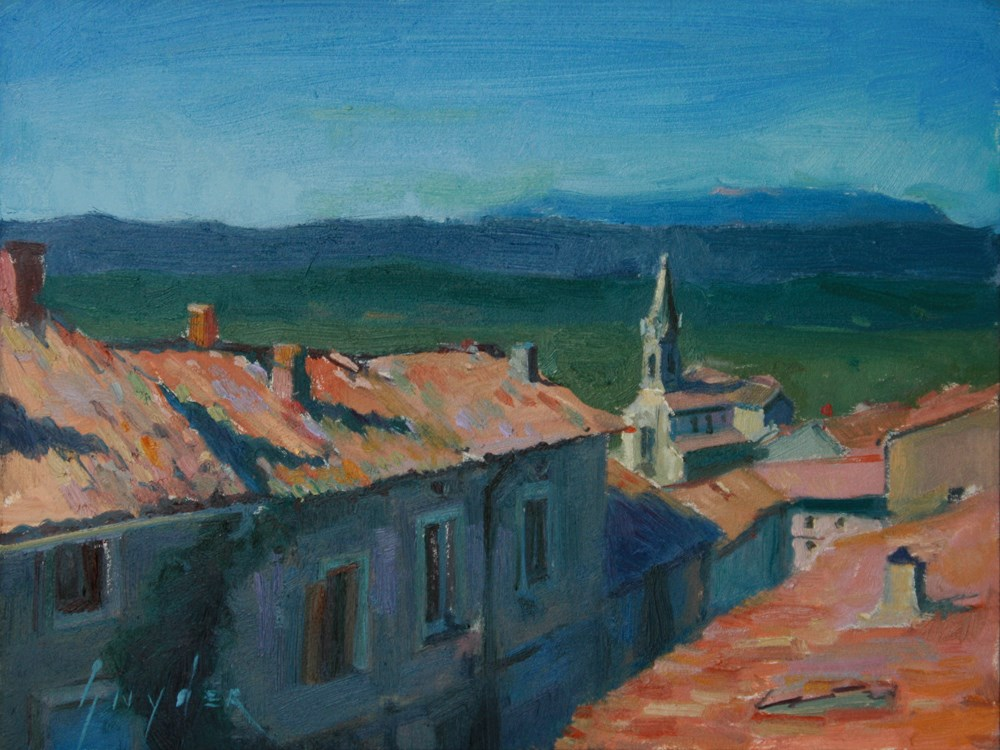 """Over the Roof Tops - Bonnieux"" original fine art by Julie Snyder"
