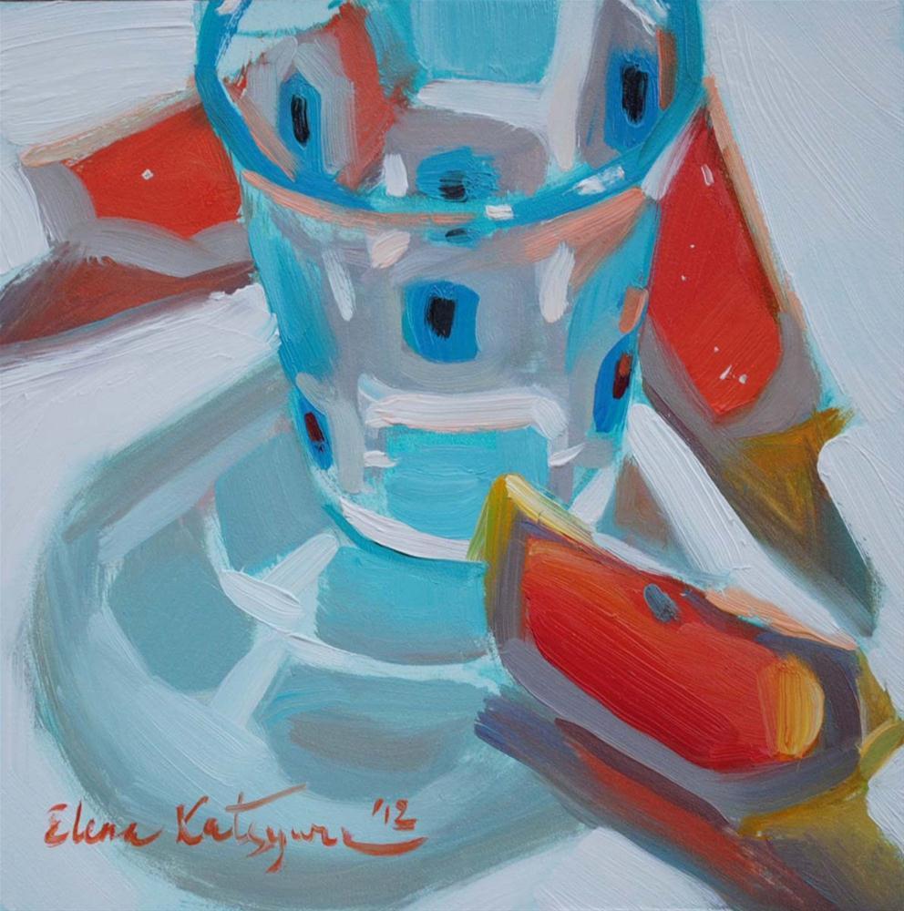 """Blue Squares"" original fine art by Elena Katsyura"