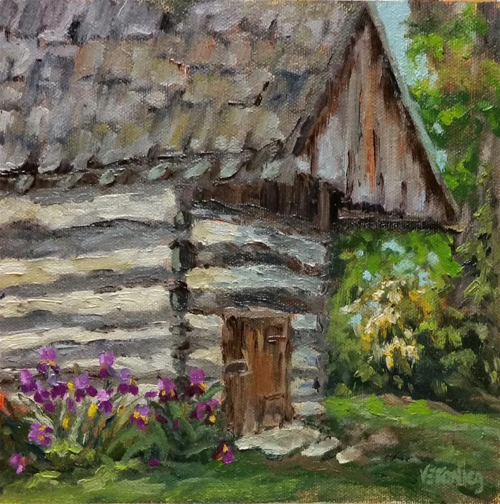 """Irises by the smokehouse--en Plein Air"" original fine art by Veronica Brown"