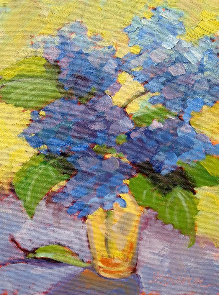 """""""Blue Hydrangea in Yellow Glass II"""" original fine art by Jeanne Bruneau"""