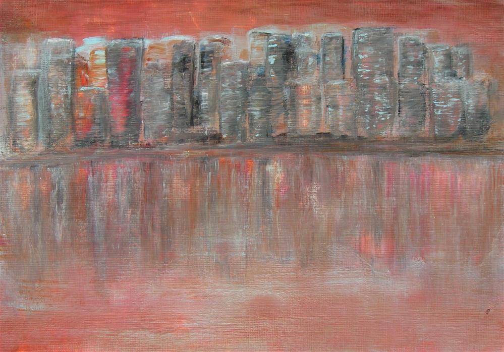 """Red Cityscape"" original fine art by Alina Frent"