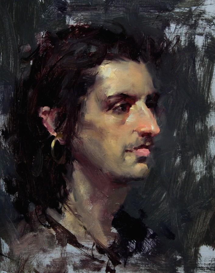 """Portrait for Fall 002 - Musician"" original fine art by Fongwei Liu"
