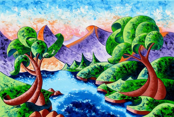 """Mark Adam Webster - Abstract Landscape Oil Painting 24x36"" original fine art by Mark Webster"