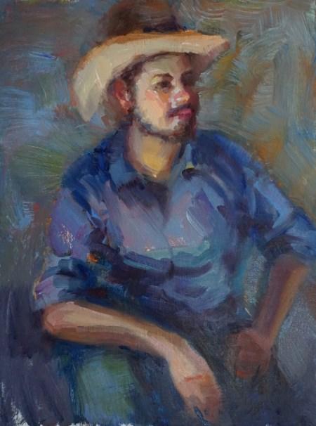 """""""Clay Cowboy"""" original fine art by Carol Myer"""