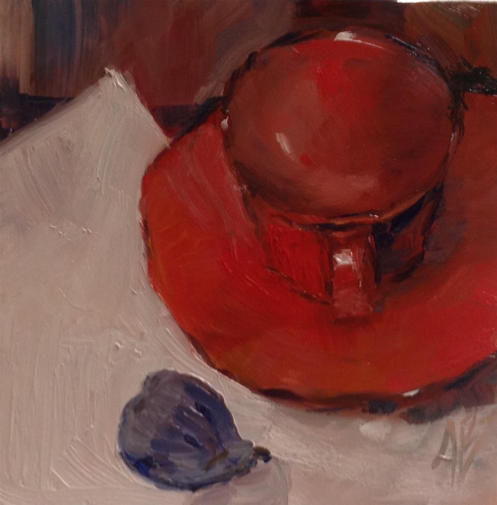 """""""Red cup and Fig"""" original fine art by Annette Balesteri"""