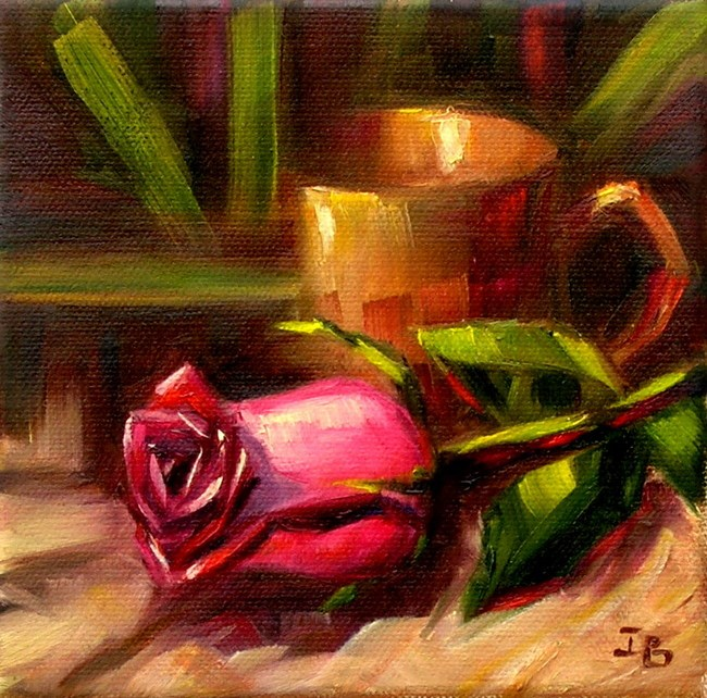 """Pink Rose Study 2"" original fine art by Irina Beskina"