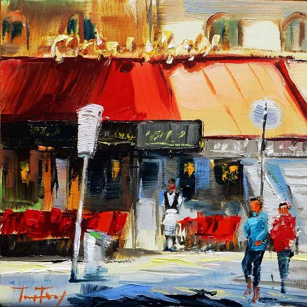 """Straßencafé"" original fine art by Jurij Frey"