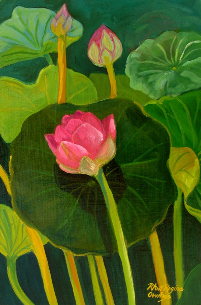 """Pink Lotus"" original fine art by Rhett Regina Owings"