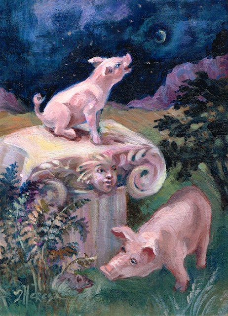 """Hog Heaven"" original fine art by Theresa Taylor Bayer"