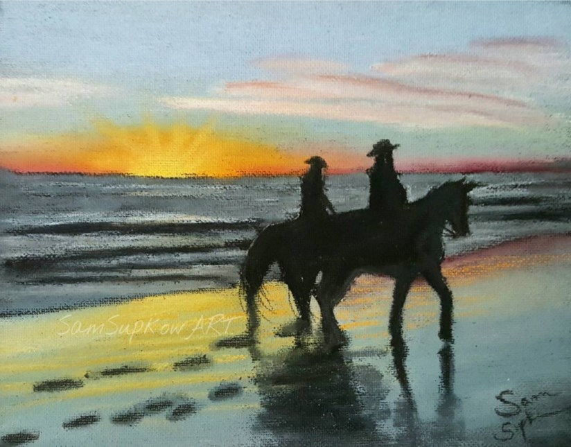 """""""Beach Silhouette"""" original fine art by Sam Supkow"""