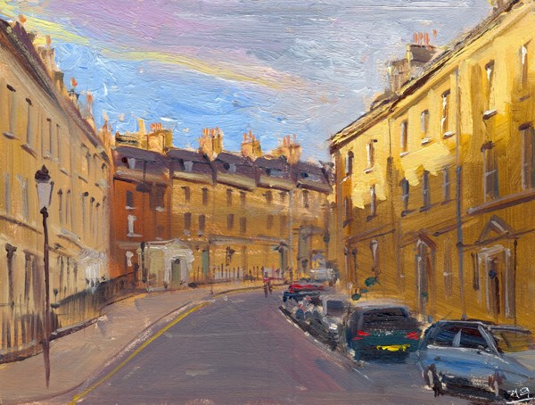 """Evening Light, Park Street, Bath"" original fine art by Adebanji Alade"