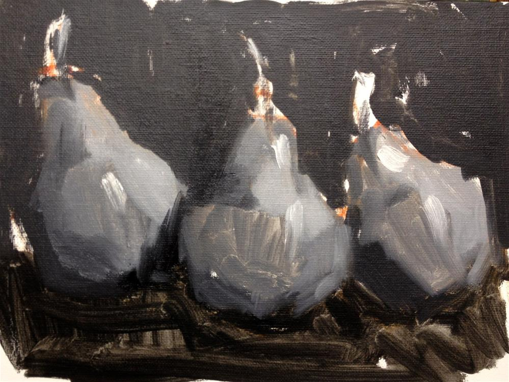 """""""Pears in Black and White"""" original fine art by Laurie Johnson Lepkowska"""