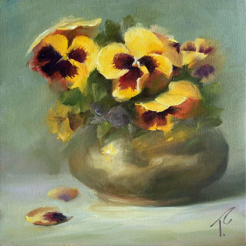 """""""Study of Pansies and Brass on Green"""" original fine art by Lori Twiggs"""