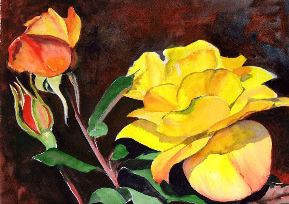 """""""Yellow-Orange Rose and Bud"""" original fine art by Bunny Griffeth"""