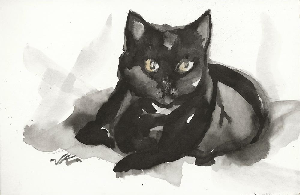 """Daily Cat 83"" original fine art by Jean Krueger"
