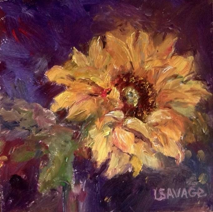 """My First Sunflower"" original fine art by Judy Usavage"