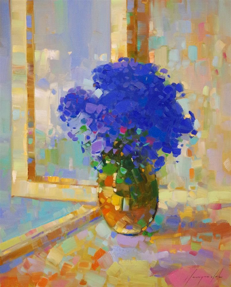 """Vase of Flowers, Original oil painting in handmade, One of a kind"" original fine art by V Y"