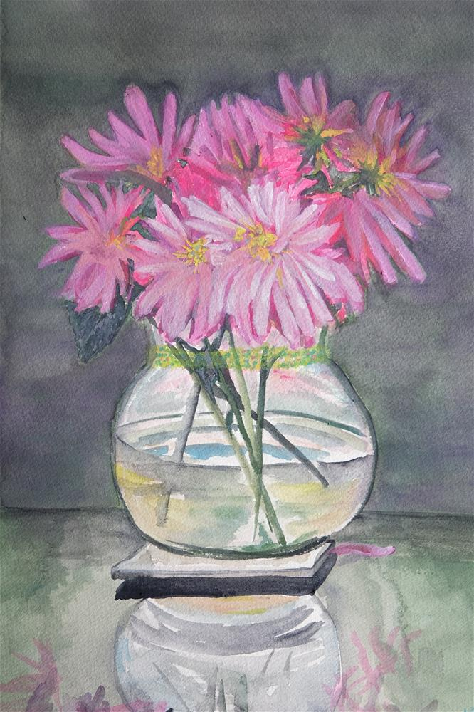 """Dark Dahlias"" original fine art by Laura Denning"