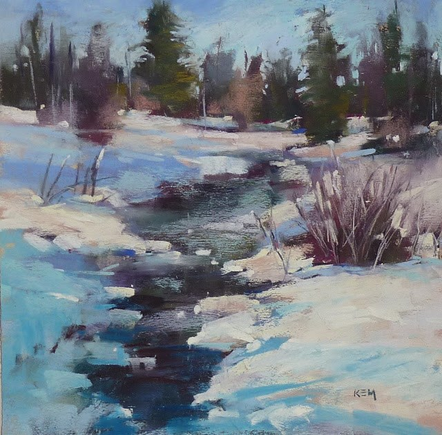 """Painting The Shadows on Snow in a Winter Landscape"" original fine art by Karen Margulis"