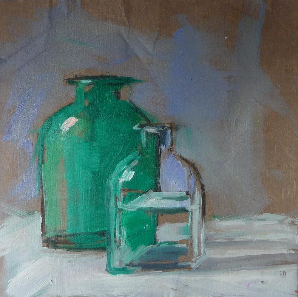"""""""Two bottles"""" original fine art by Carol Josefiak"""