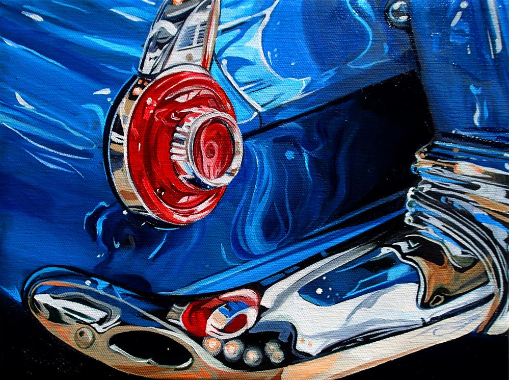 """""""'55 Blue Thunderbird"""" original fine art by Lauren Kuhn"""