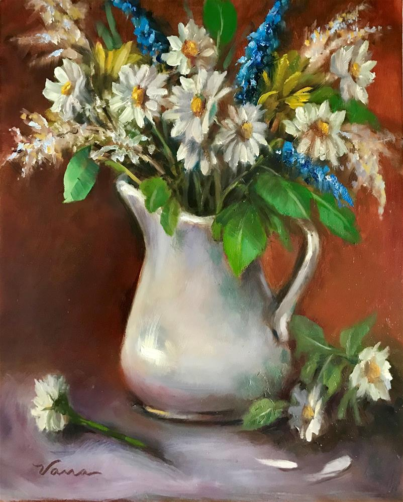 """White Pitcher and Daisy Floral"" original fine art by Vana Meyers"