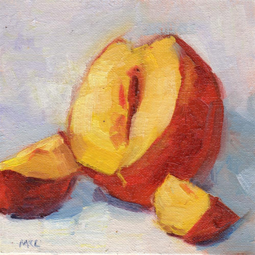 """Cup Up Nectarine"" original fine art by Marlene Lee"