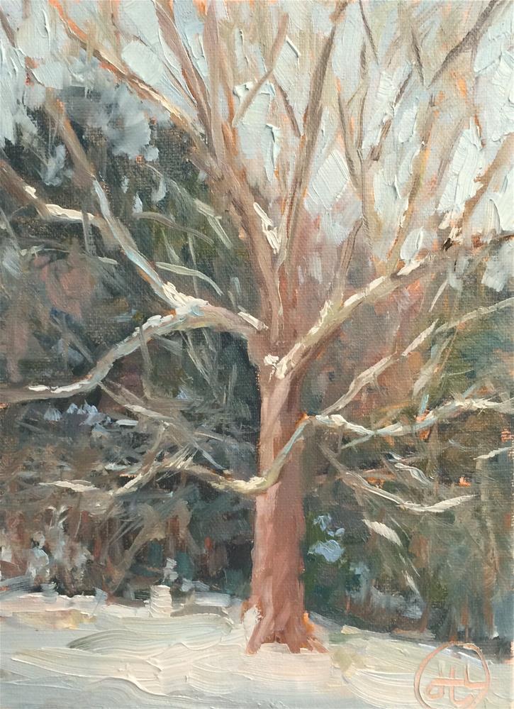 """snow day"" original fine art by Dottie  T  Leatherwood"