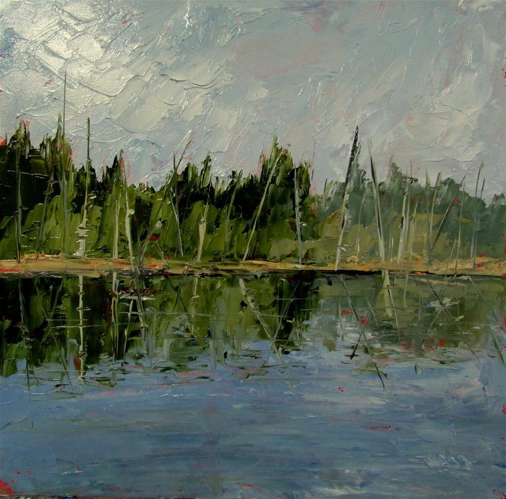 """8 x 8 inch oil Westwood Lake"" original fine art by Linda Yurgensen"