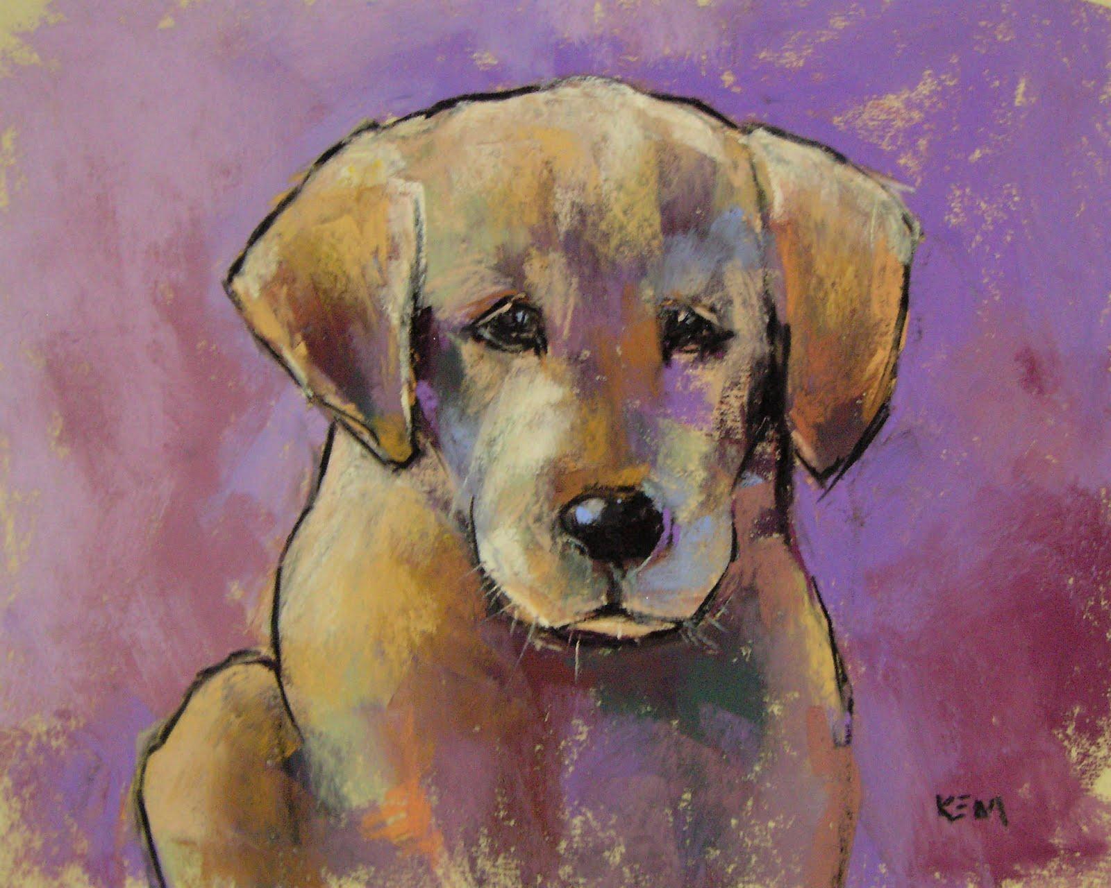 """""""Golden Lab Puppy Painting"""" original fine art by Karen Margulis"""