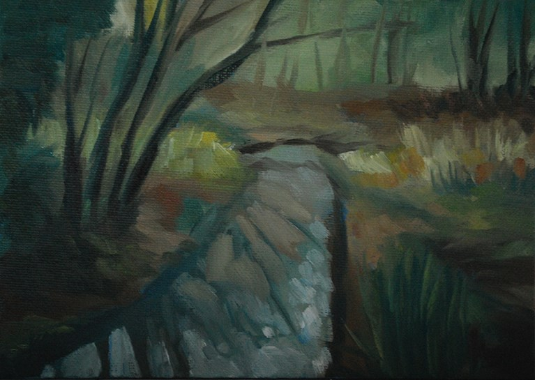 """Reflections of Tree Trunks"" original fine art by J M Needham"