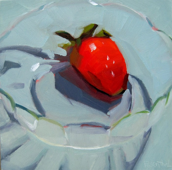 """Strawberry in Glass Bowl"" original fine art by Robin Rosenthal"