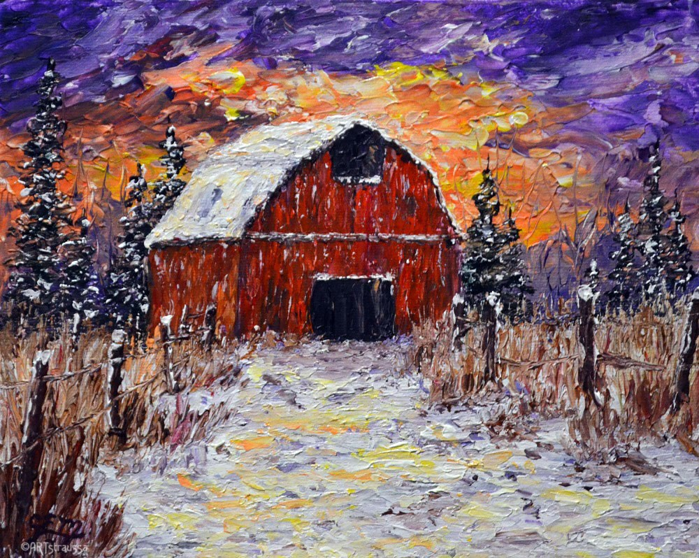 """SALE!!!Wilson's Winter Barn"" original fine art by Gloria Ester"