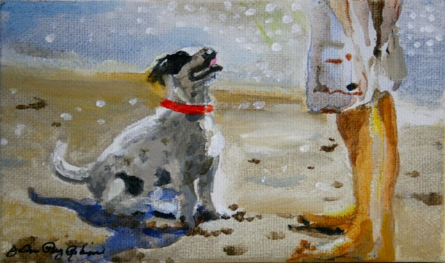 """Whatever You Say, Just Throw the Ball!"" original fine art by JoAnne Perez Robinson"