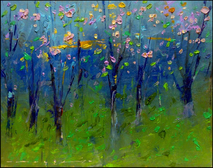 """Morning In The Cherry Garden_001"" original fine art by Angel Angelov"