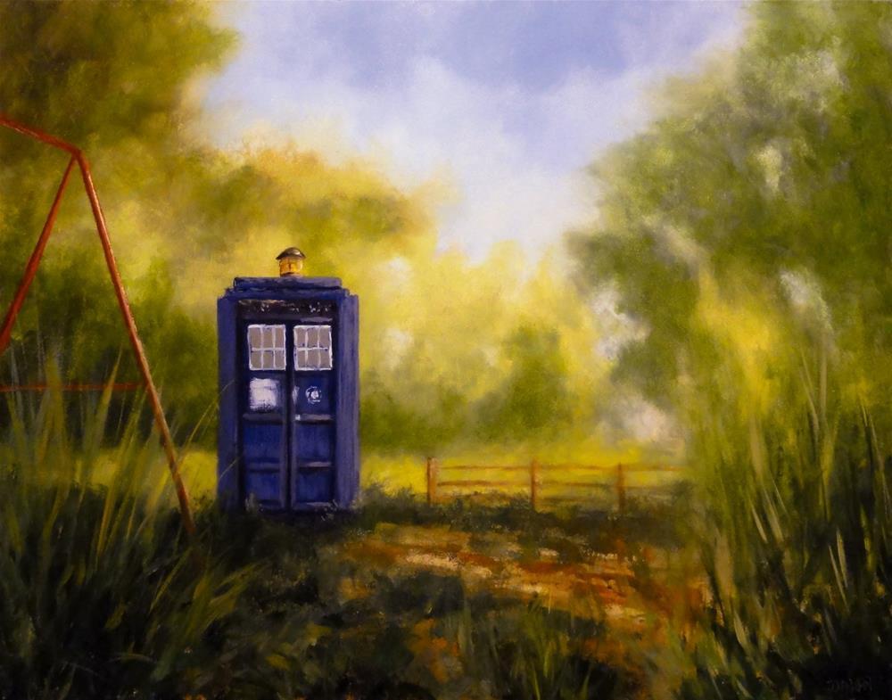 """The Tardis Lands In Amy Ponds Garden"" original fine art by Dalan Wells"