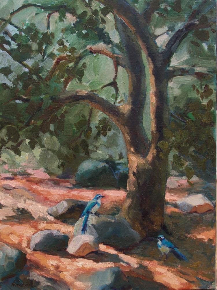 """Scrub Jay's Oak"" original fine art by Mary Mulvihill"