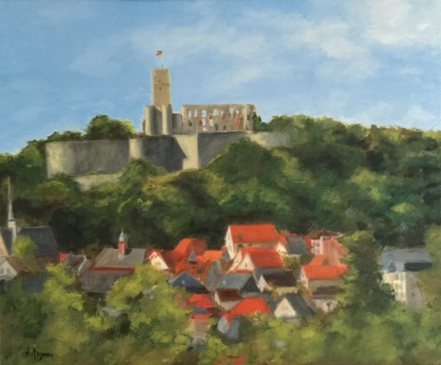 """View of the Königstein Castle"" original fine art by Karen D'angeac Mihm"