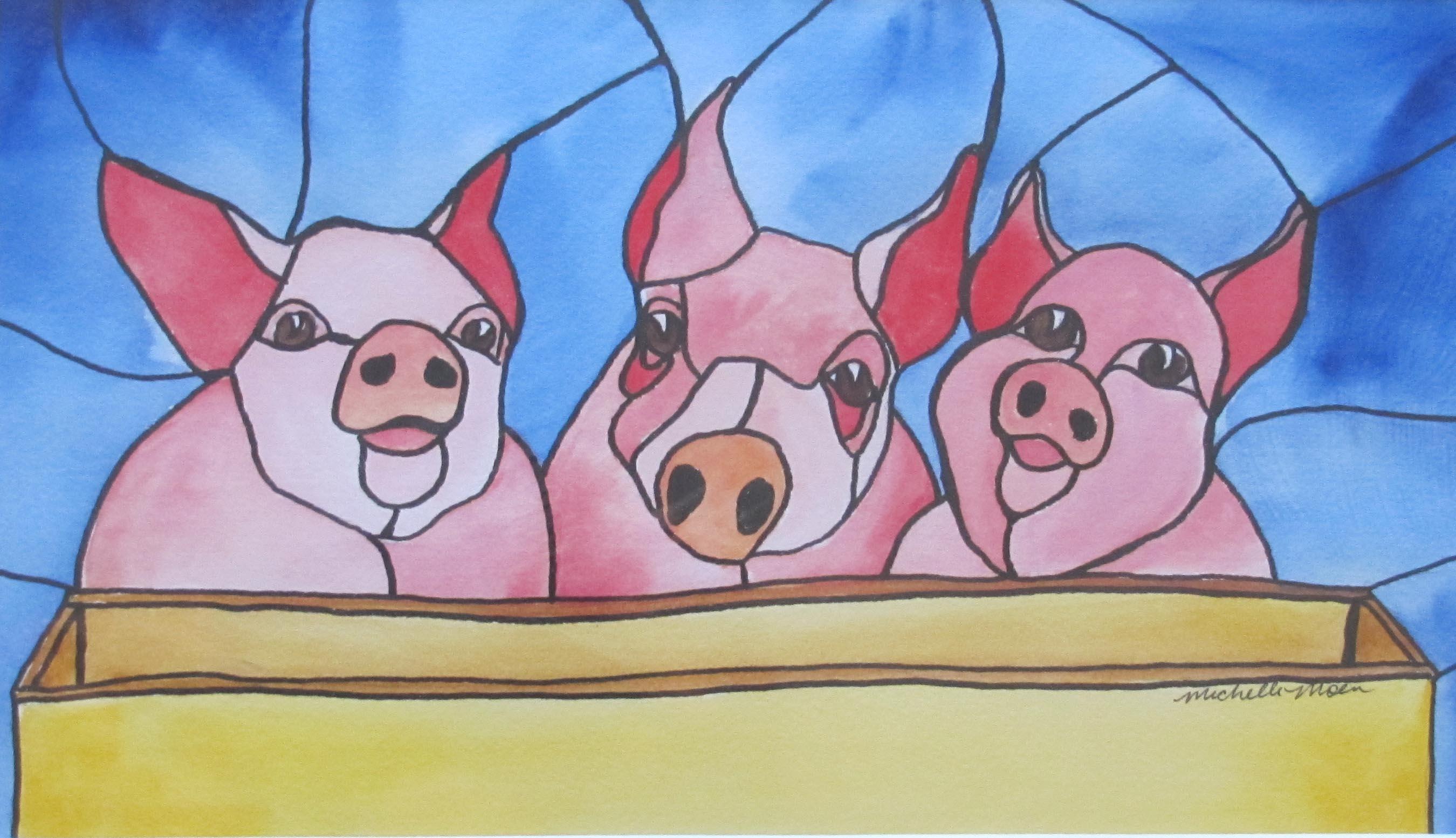 """""""Three Piggies"""" original fine art by Michelle Wolfe"""