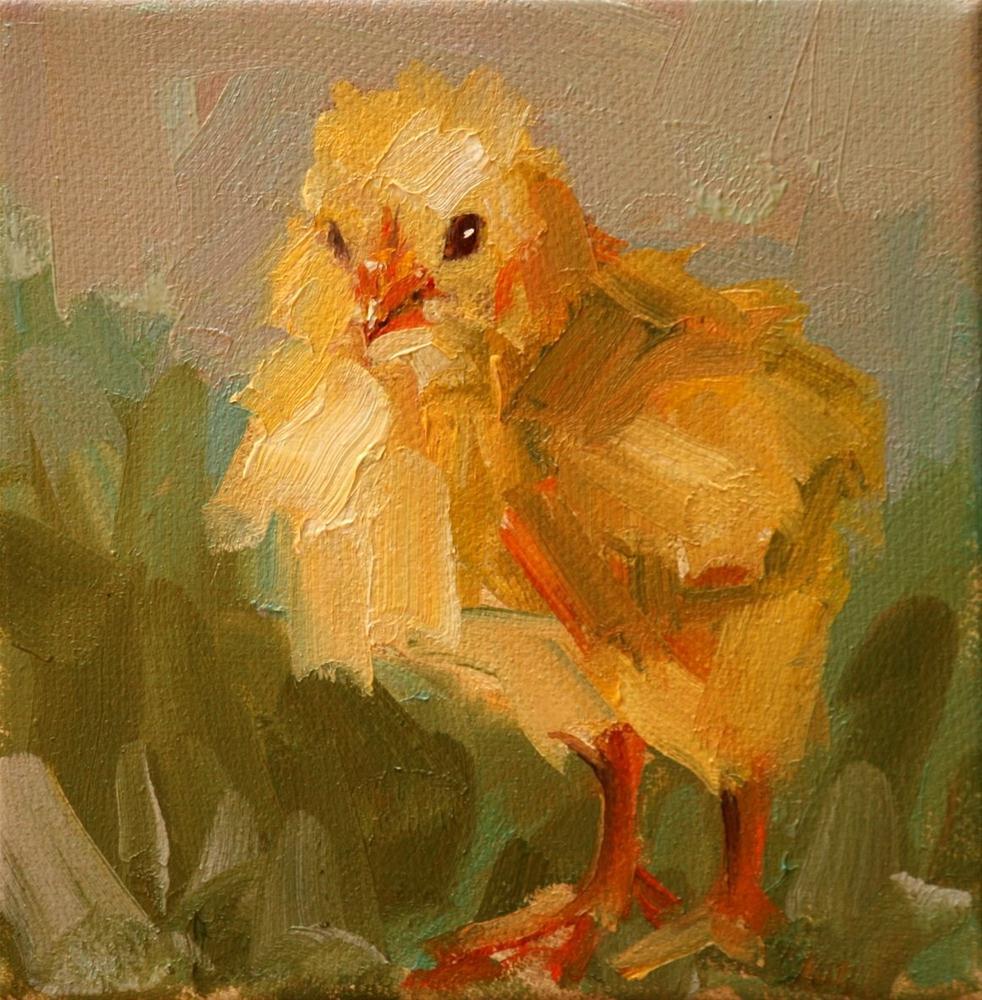 """""""flying chick"""" original fine art by Carol Carmichael"""