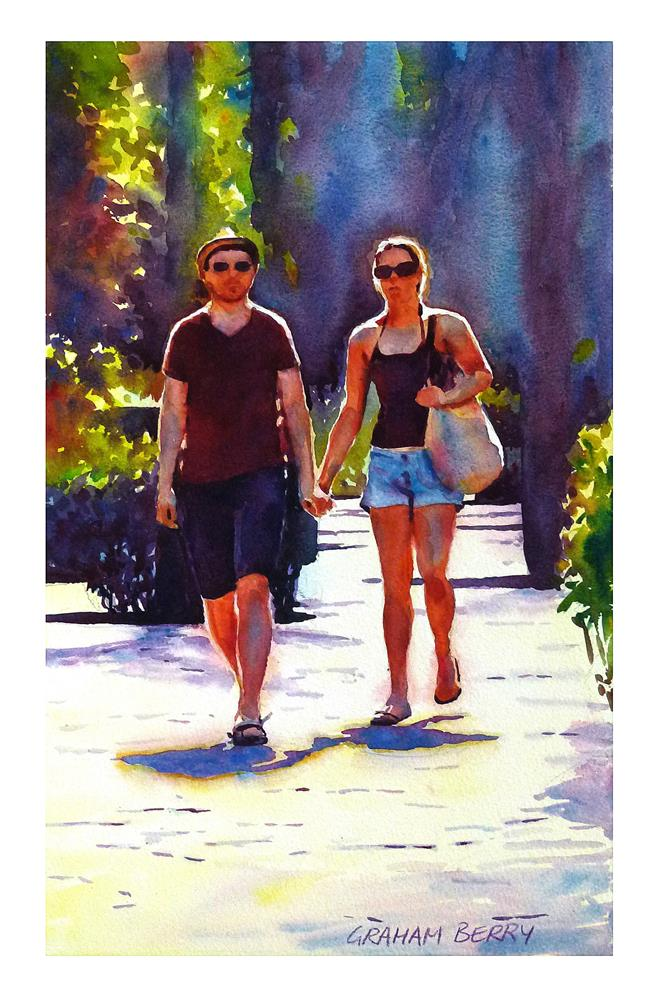 """Just walking in the park."" original fine art by Graham Berry"