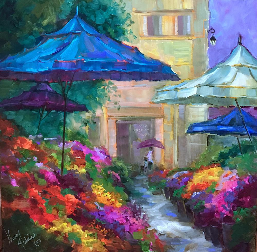 """""""The Noodle Shop - A Scene from Southern France"""" original fine art by Nancy Medina"""
