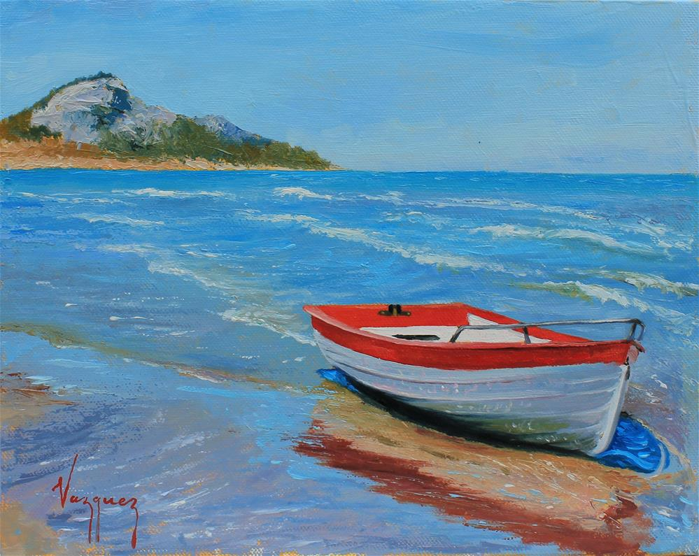 """Washed up boat"" original fine art by Marco Vazquez"