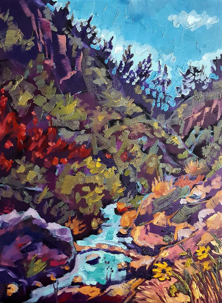 """""Stream"" – Colorful California Nature Painting"" original fine art by Bhavna Misra"