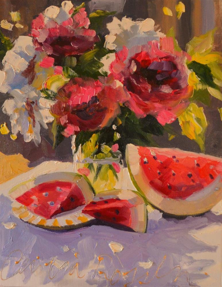 """WATERMELON MEDLEY"" original fine art by Cecilia Rosslee"