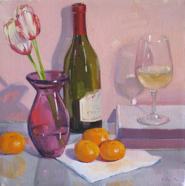 """""""Pretty in Pink white wine glass bottle painting flowers tulips fruit oranges"""" original fine art by Sarah Sedwick"""