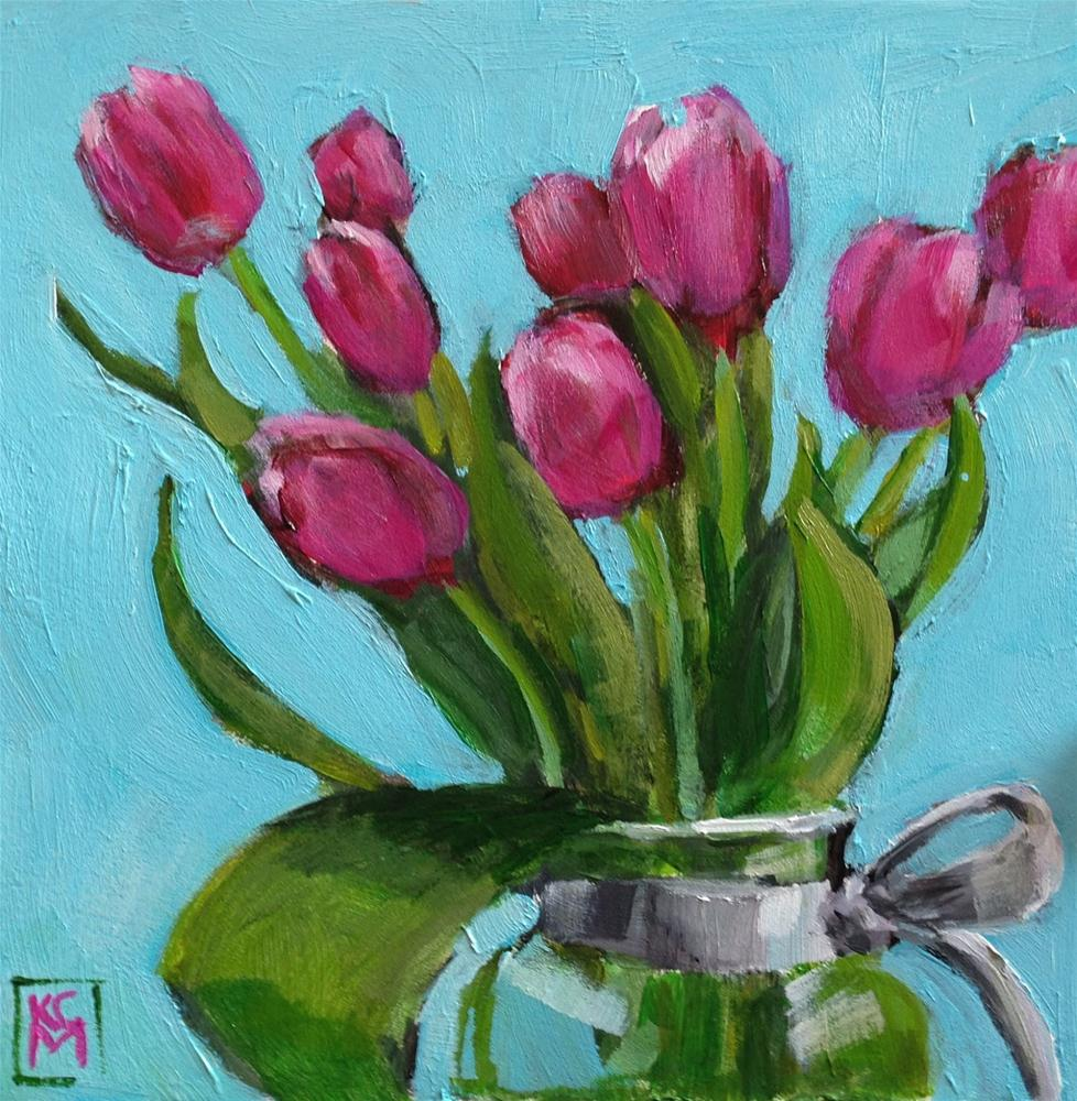 """Spring In My Heart, 6x6 Inch Acrylic Painting by Kelley MacDonald"" original fine art by Kelley MacDonald"
