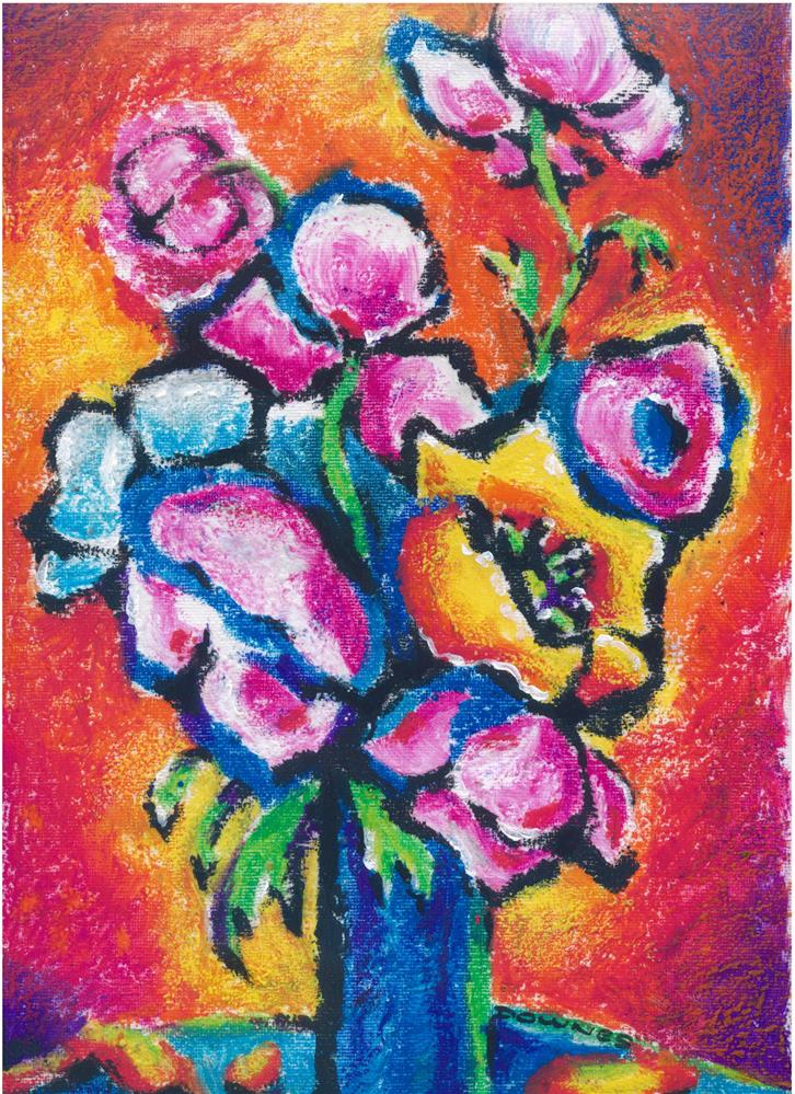 """""""194 FLOWERS ABSTRACT 6"""" original fine art by Trevor Downes"""