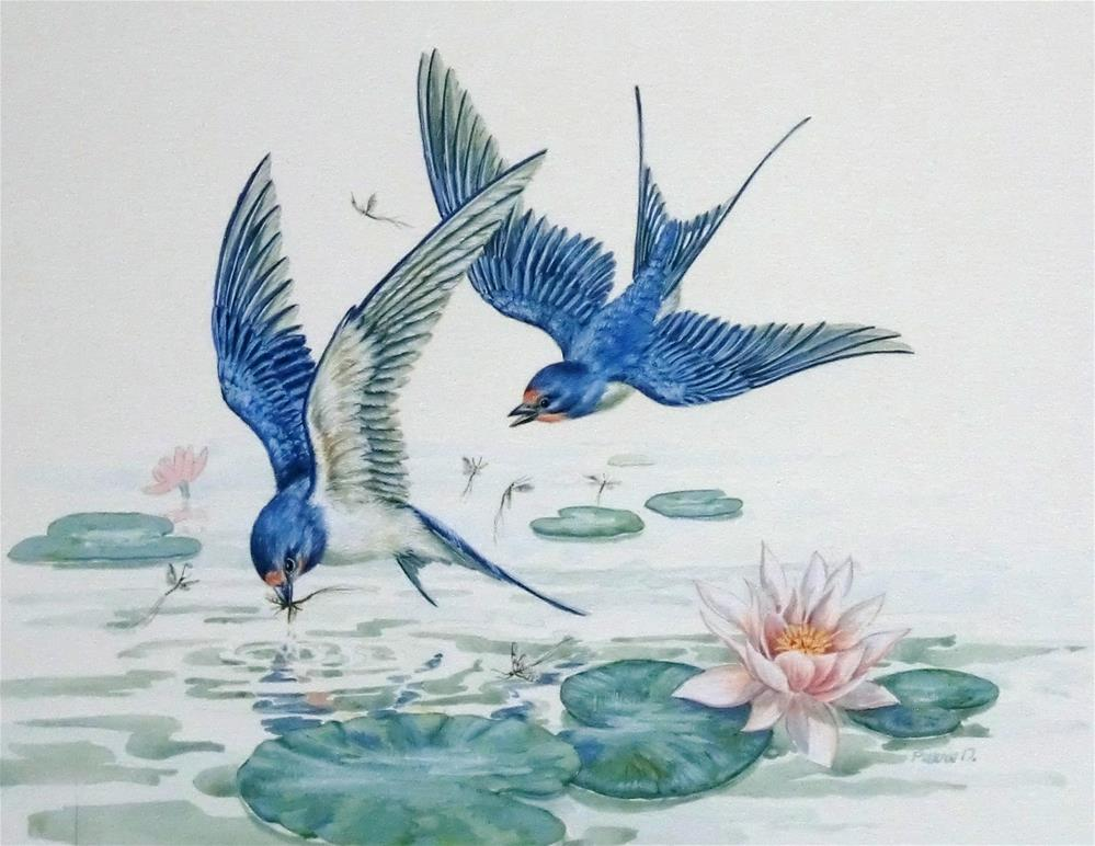 """""""Barn Swallows"""" original fine art by Jean Pierre DeBernay"""