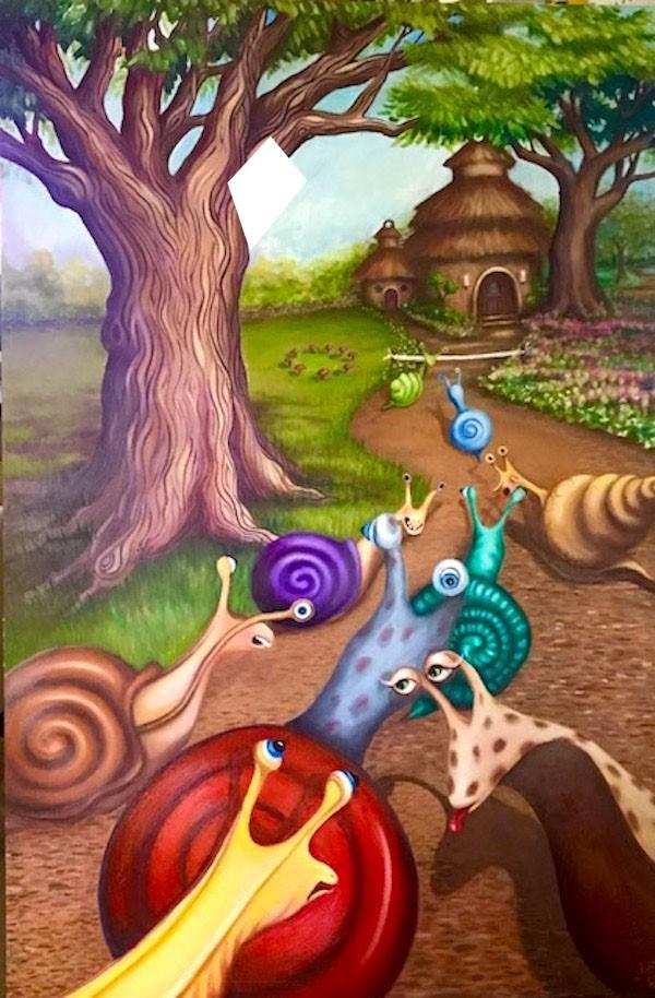 """""""The Snail Race"""" original fine art by Joetta Currie"""